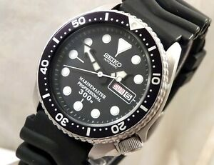 Seiko Black MarineMaster Submariner Divers Day Date Automatic Watch Custom 6309