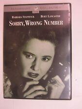 Sorry, Wrong Number (1948) (DVD, 2002)- Barbara Stanwyck, Burt Lancaster -