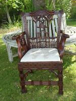QUALITY CHINESE CHIPPENDALE MAHOGANY ARMCHAIR/CARVER