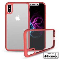 iPhone X Phone Case (TPU Mold & Colored Bumper + Transparent Back) Red