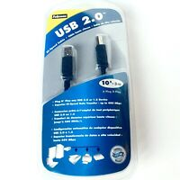 Fellowes USB 2.0 Hi Speed AB Cable 10 Foot Lifetime Warranty NIP Gold Contacts