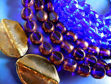 Noble Cobalt Blue firepolished 3cut-Baroque-Perles M. Bronze-windows - 8mm- 25stk. -