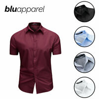 Mens Short Sleeve Shirts Casual Formal Top Reg Fit Plain Shirt Work M L XL XXL