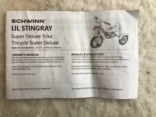 Schwinn Lil Stingray Super Deluxe Tricycle  INSTRUCTIONS MANUAL ONLY