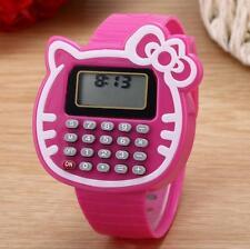 Kid Girls Hello Kitty Electronic Calculator Time Date Wrist Watch Wristwatch New