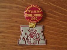 >old 1939 MINNESOTA GOLDEN GOPHERS Western Homecoming FOOTBALL PIN vs Ohio State