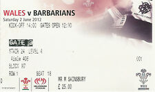 Wales v Barbarians 2 Jun 2012 Cardiff RUGBY TICKET
