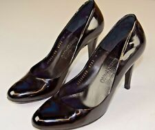 Salvatore Ferragamo High Heel Black Lacquered Pumps Size 9 Italy Career Shoes