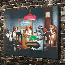 "Dogs Playing Poker HD Canvas Print 18""x24"" Home Decor Paintings Wall Art Picture"