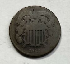 1864 Two Cent Piece - Very Rare Genuine Collectible - Free Shipping