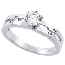 Women 925 Sterling Silver Rhodium Plated, Solitaire CZ Ring 4mm