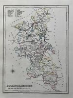 1848 Buckinghamshire Original Antique Hand Coloured County Map 172 Years Old