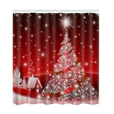 Santa Claus Christmas Waterproof Fabric Bathroom Shower Curtain 12 Hanging Hooks