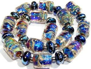 """Sistersbeads """"O-NIght Sky"""" Handmade Lampwork Beads"""