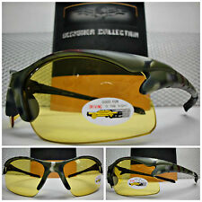 Men's CAMOUFLAGE Day or Night DRIVING SHOOTING HUNTING Yellow Lens SUN GLASSES