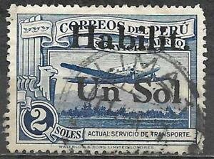 Peru 1936 Stamp Scott #C44 Transport Plane 1 Soles On 2 Soles Used Aviation