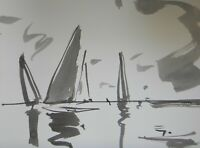 JOSE TRUJILLO - ABSTRACT EXPRESSIONISM INK WASH Ocean Sailboat Minimal ART 9x12""