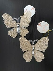 X2 Gold Glitter Butterfly Christmas Decorations. Clear & Gold Hanging Butterfly