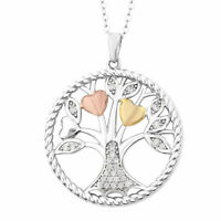 ELANZA White Cubic Zirconia Tree Of Life Chain Pendant Necklace Sterling Silver