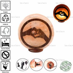 LOVE SHAPE 3D WOOD PRINT NATURAL HIMALAYAN SALT LAMP DECOR GIFT PURIFY AIR UK