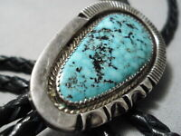 INCREDIBLE VINTAGE NAVAJO BLUE DIAMOND TURQUOISE STERLING SILVER BOLO