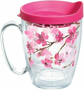 Tervis Japanese Cherry Blossom Coffee Mug With Pink Lid, 16 oz, Clear []