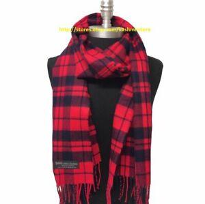 NEW Men Women 100% CASHMERE SCARF Plaid Red / Navy blue Scotland Soft Warm Wrap
