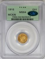 1916 PCGS $1 Gold MicKinley Commemorative Dollar MS64 CAC OGH