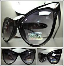 OVERSIZED EXAGGERATED VINTAGE RETRO Cat Eye Style SUN GLASSES Large Black Frame