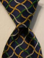 TURNBULL & ASSER Mens 100% Silk Necktie ENGLAND Luxury Geometric Blue/Yellow EUC