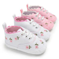 Newborn Toddler Baby Girls Floral Crib Shoes Soft Sole Anti-slip Canvas Sneakers