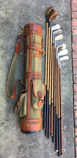 Hickory Player Wood Shaft Golf Club Set and Belding Caddy Bag