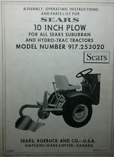 Sears 10 Turnover Plow Implement Garden Tractor Owner Amp Parts Manual 917253020