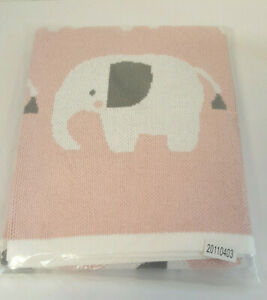 My 1st years Knitted Baby Blanket 100% Cotton Pink Grey White Elephant Design