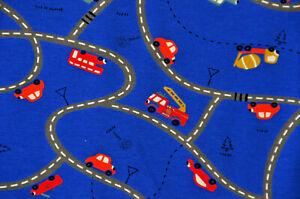 dunkelblauer Jersey mit Straße Autos Laster Kipper 50 cm x 150 cm Nähen Stoff