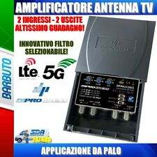 AMPLIFICATORE DA PALO ANTENNA TV  2 IN LOG+UHF - 2 OUT 30dB REGOLABILE LTE/5G