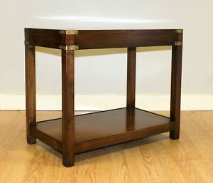 KENNEDY MILITARY CAMPAIGN BROWN MAHOGANY SIDE/COFFEE TABLE BRASS INSET ON TOP