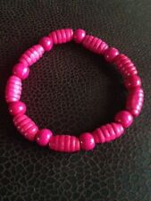 Pink Wood Bracelet, Bright Wood Barrel Bead, Wooden beads