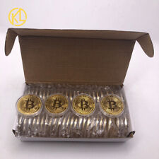 50pcs Gold Bitcoin Physical Collectible BTC Coins Cryptocurrency Metal Coins