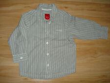 neuwertig schickes grau weiß gestreiftes Langarmhemd Hemd von Esprit Gr. 92 98 *