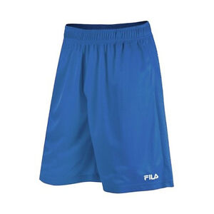 Fila Men Solid Mesh Training Shorts Blue Athletic Basketball Soccer Sport L, XL