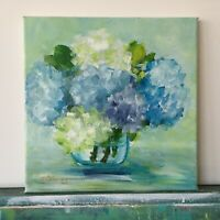 "Original Art Hydrangeas Bouquet Original Acrylic painting on canvas 10""x10""x0.8"