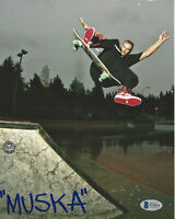 CHAD MUSKA SKATEBOARD LEGEND SIGNED 8x10 PHOTO SKATEBOARDER BECKETT COA BAS