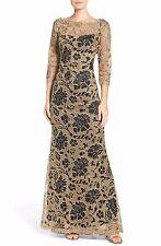 NEW TADASHI SHOJI Black Metallic Gold Illusion 3/4 Sleeve Lace Dress Gown 8 US