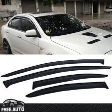 Fit 08-17 Mitsubishi Lancer 4Dr Sun Window Visor Dark Smoke Slim Style 4Pcs