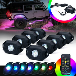 Xprite 8 Pods RGB LED Rock Lights Underglow Neon Light Kit for Truck ATV UTV RZR