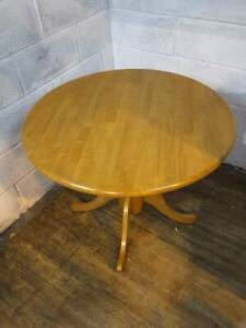 MODERN CIRCULAR BEECH KITCHEN DINING TABLE with PEDESTAL SUPPORT.