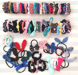 40 Pcs Assorted Scrunchies Hair Ties Ponytail Bands Bow (USA Seller)