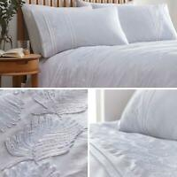 White Duvet Covers Embroidered Feather Pin-tuck Band Quilt Cover Bedding Sets