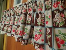 Red Cherry, Strawberry, Apple Brown Sqr Handmade Kitchen Window Curtain VALANCES